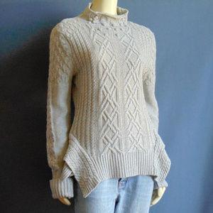 BCBGMaxazria Gray Cable Pom Pom Tunic Sweater L